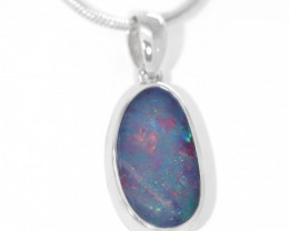 925 ST/ SILVER RHODIUM PLATED OPAL DOUBLET PENDANT [TP15]