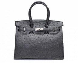 OSTRICH LEATHER BAG #BLACK