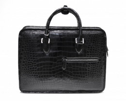 CROCODILE BELLY LEATHER BRIEFCASE #black
