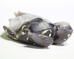 2500 Cts Crystal Agate Carved Turtle CH 205