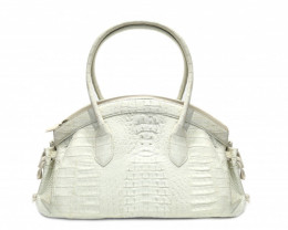CROCODILE LEATHER BAG #WHITE