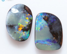 7.35Cts TWO  Queensland  Koroit Boulder Opal, Nice Pattern  CH220