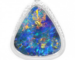 18k GOLD DOUBLET OPAL  PENDANT WITH DIAMONDS [TP22]