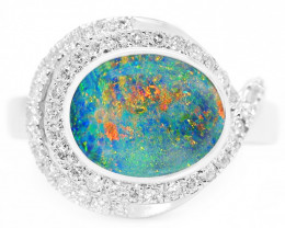 18k GOLD DOUBLET OPAL RING WITH DIAMONDS [TR01]
