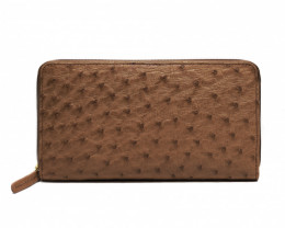 OSTRICH ZIP CLOSURE LONG WALLET #CHOCO