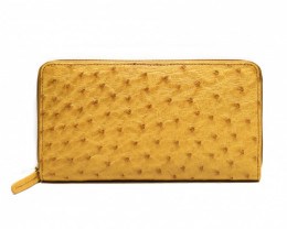 OSTRICH ZIP CLOSURE LONG WALLET #yellow
