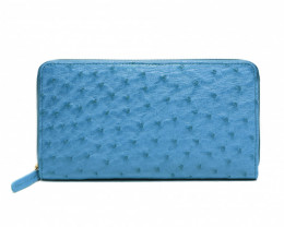 OSTRICH ZIP CLOSURE LONG WALLET #blue