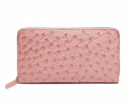 OSTRICH ZIP CLOSURE LONG WALLET #pink