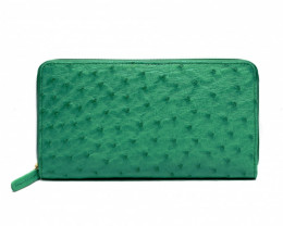 OSTRICH ZIP CLOSURE LONG WALLET #GREEN