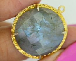 29.45CTS- FACETED LABRADORITE  PENDANT RJA-687