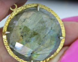 28.30CTS- FACETED LABRADORITE  PENDANT RJA-688
