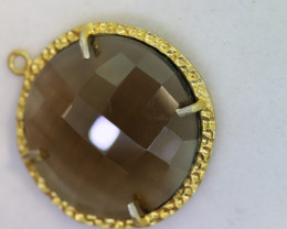 23.95CTS- FACETED SMOKEY QUARTZ PENDANT  RJA-690