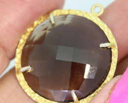21.90CTS- FACETED SMOKEY QUARTZ PENDANT  RJA-692