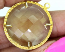 23.25CTS - FACETED LEMON QUARTZ PENDANT RJA-698