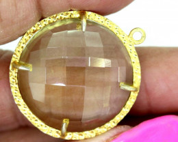 23.70CTS - FACETED LEMON QUARTZ PENDANT RJA-699