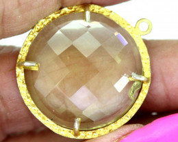 23.80CTS - FACETED LEMON QUARTZ PENDANT RJA-701