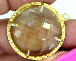 23.45CTS - FACETED LEMON QUARTZ PENDANT RJA-702