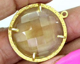 24.30CTS - FACETED LEMON QUARTZ PENDANT RJA-703