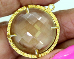 22.55CTS - FACETED LEMON QUARTZ PENDANT RJA-704