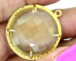 23.85CTS - FACETED LEMON QUARTZ PENDANT RJA-705