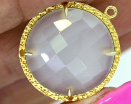23.60CTS - FACETED LEMON QUARTZ PENDANT RJA-706