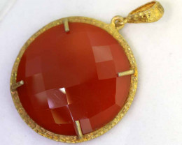 30.70CTS - FACETED CARNELIAN PENDANT RJA-716