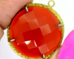 26.40CTS - FACETED CARNELIAN PENDANT RJA-718