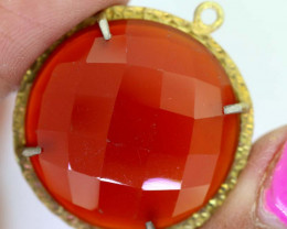 27.10 CTS - FACETED CARNELIAN PENDANT RJA-719