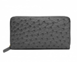 OSTRICH ZIP CLOSURE LONG WALLET #BLACK