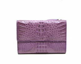 CROCODILE  BUTTON CLOSURE WALLET #purple
