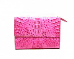 CROCODILE  BUTTON CLOSURE WALLET #pink