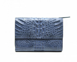 CROCODILE  BUTTON CLOSURE WALLET #navy