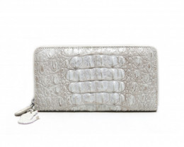 CROCODILE  ZIP CLOSURE WALLET #WHITE