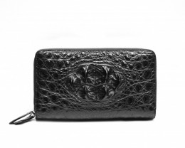 CROCODILE DOULBE ZIP  WALLET #