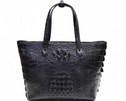 HORN BACK CROCODILE LEATHER BAG #BLACK