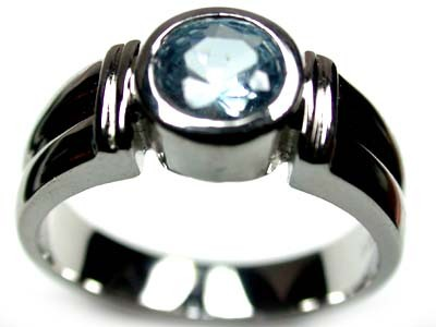 FASHIONABLE MODERN SEA BLUE FLASH RING SIZE 7 SCA329