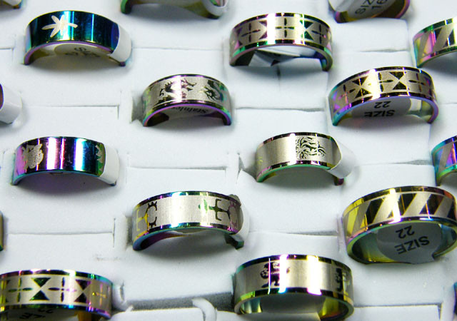 50 REFLECTIVE STAINLESS STEEL RINGS MIXED SIZES  AG 2126
