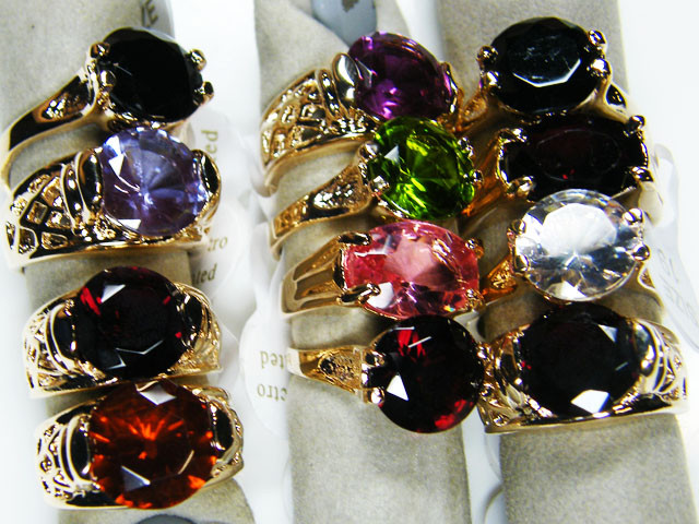 RESELLERS  DEAL12 MIXED  MAN MADE  GEMSTONE RINGS  AAT 748