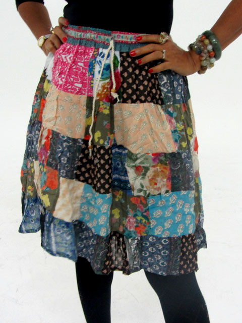 Patchwork Cotton Mid Length Skirt & Earrings OP 20