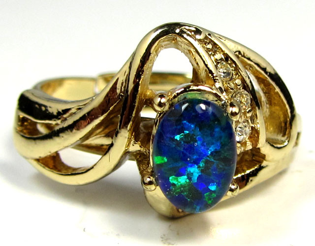 BRIGHT OPAL RING ADJUSTABLE SIZES  CSS 169
