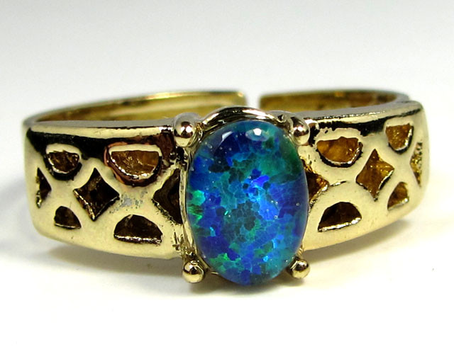 BRIGHT OPAL RING ADJUSTABLE SIZES  CSS 160
