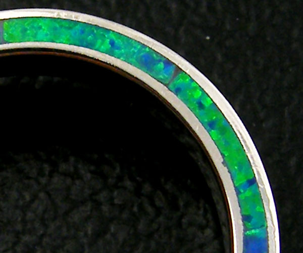 SILVER RING IMO OPAL INLAID ON SIDE RING SIZE 10  AAT832