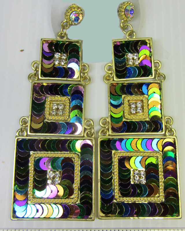 3 TIER STUNNING  MULTI SEQUINCE EARRINGS QT 142