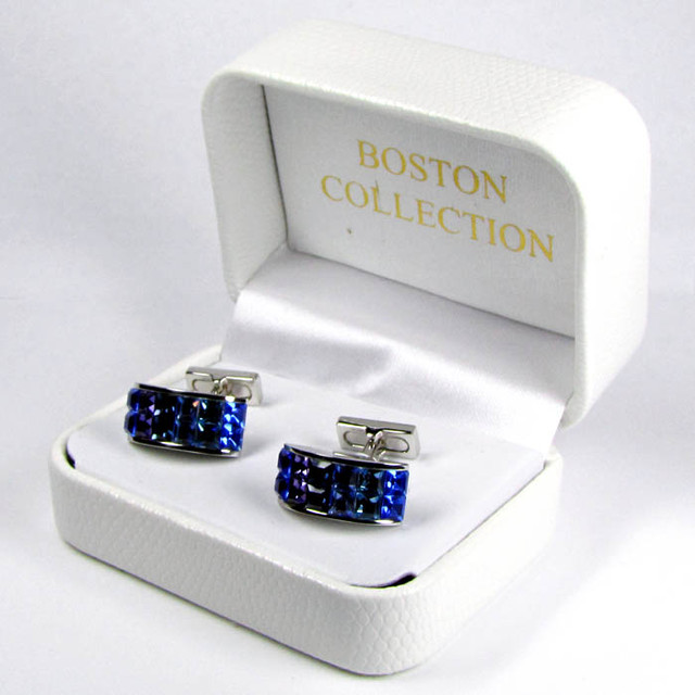 COLOURFUL SAPPHIRE BLUE MENS CUFFLINKS IN GIFT BOX AAT 1705