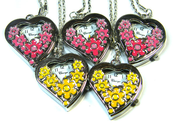 TRADE DEAL OF FIVE HEART FLOWER NECKLACE WATCHES AAA 2794