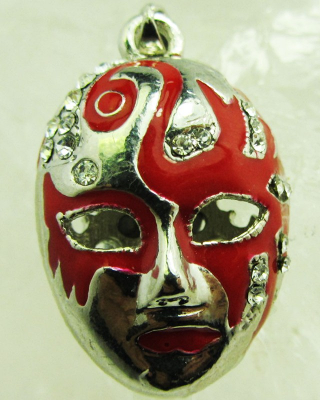 FREE SHIPPING ENCLOSED RED MASK PENDANT   QT 627