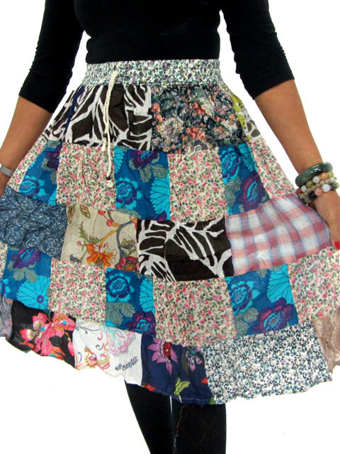 Patchwork Cotton Mid Length Skirt  & Earrings OP22