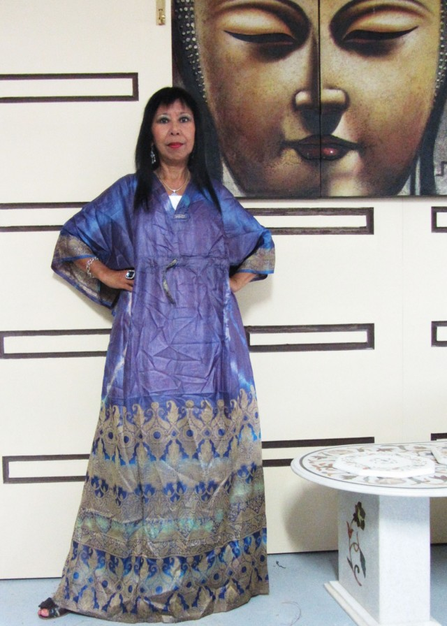 Purple Hues Silk Kaftan Dress  OP 1407