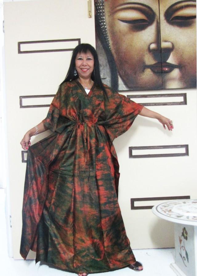 Silk Kaftan Dress Earthly hues  OP 1409