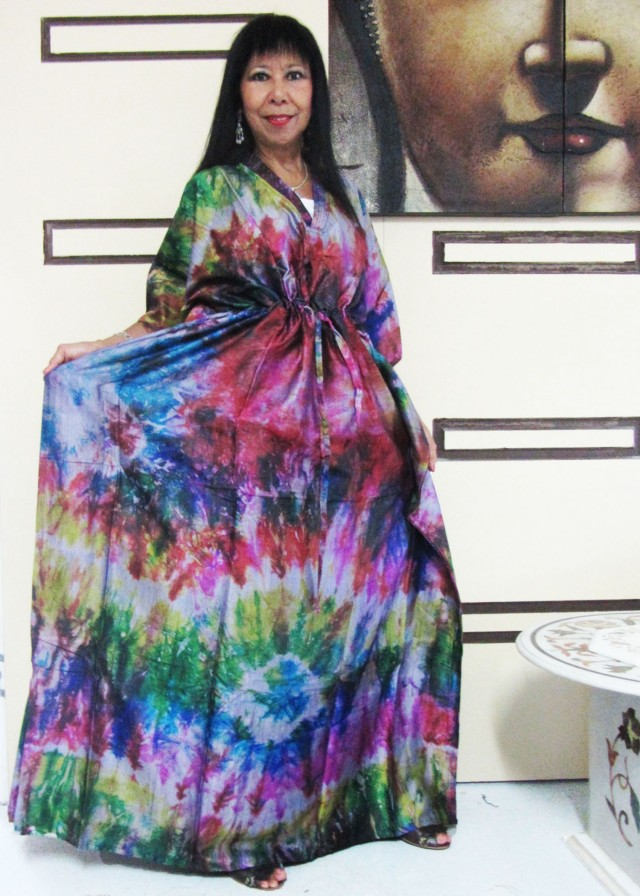 Bright Silk Kaftan Dress  OP 1411